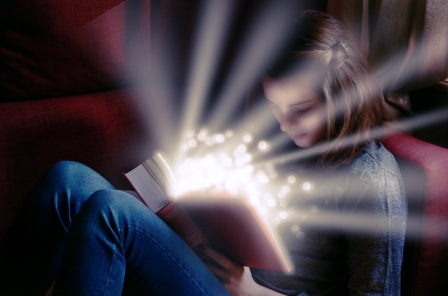 girl reading magic book
