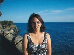 author in front of Mediterranean